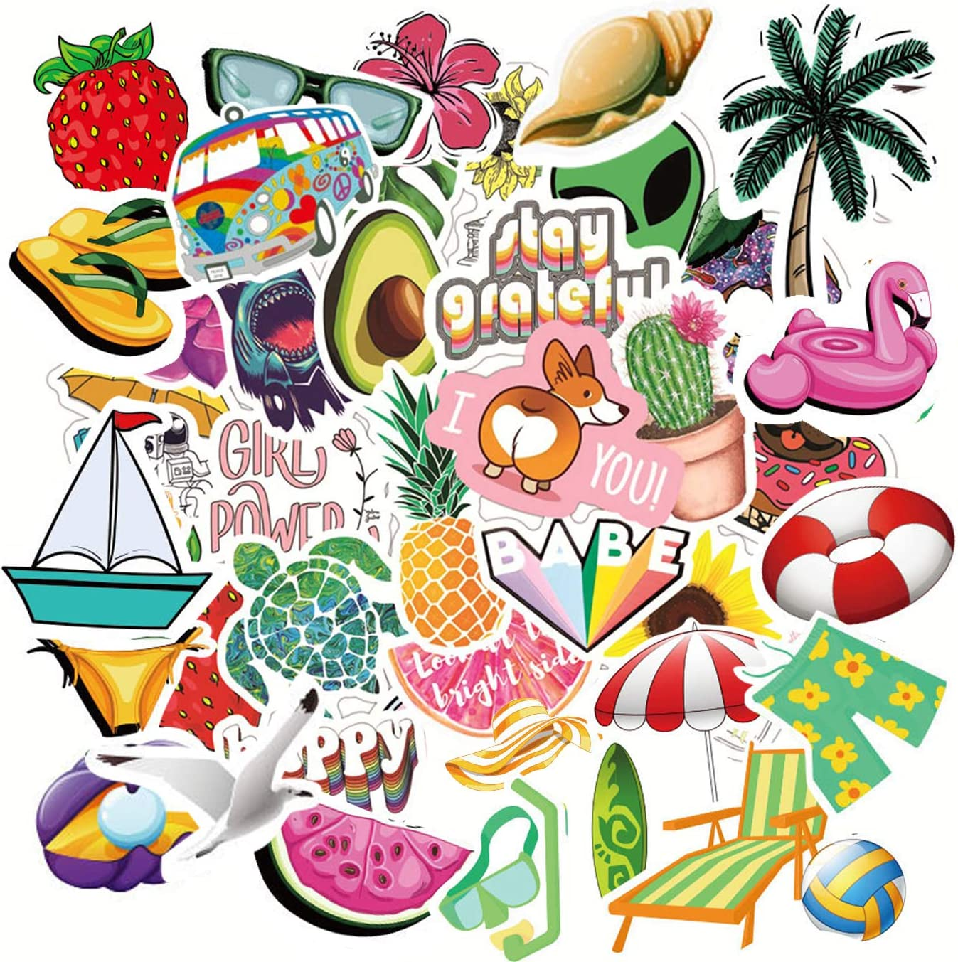 100Pcs Cute Laptop Stickers for Water Bottle Waterproof Trendy Aesthetic Fruit Stickers for Teens and Girls 100% Vinyl Decal Stickers (Fruit Cute)