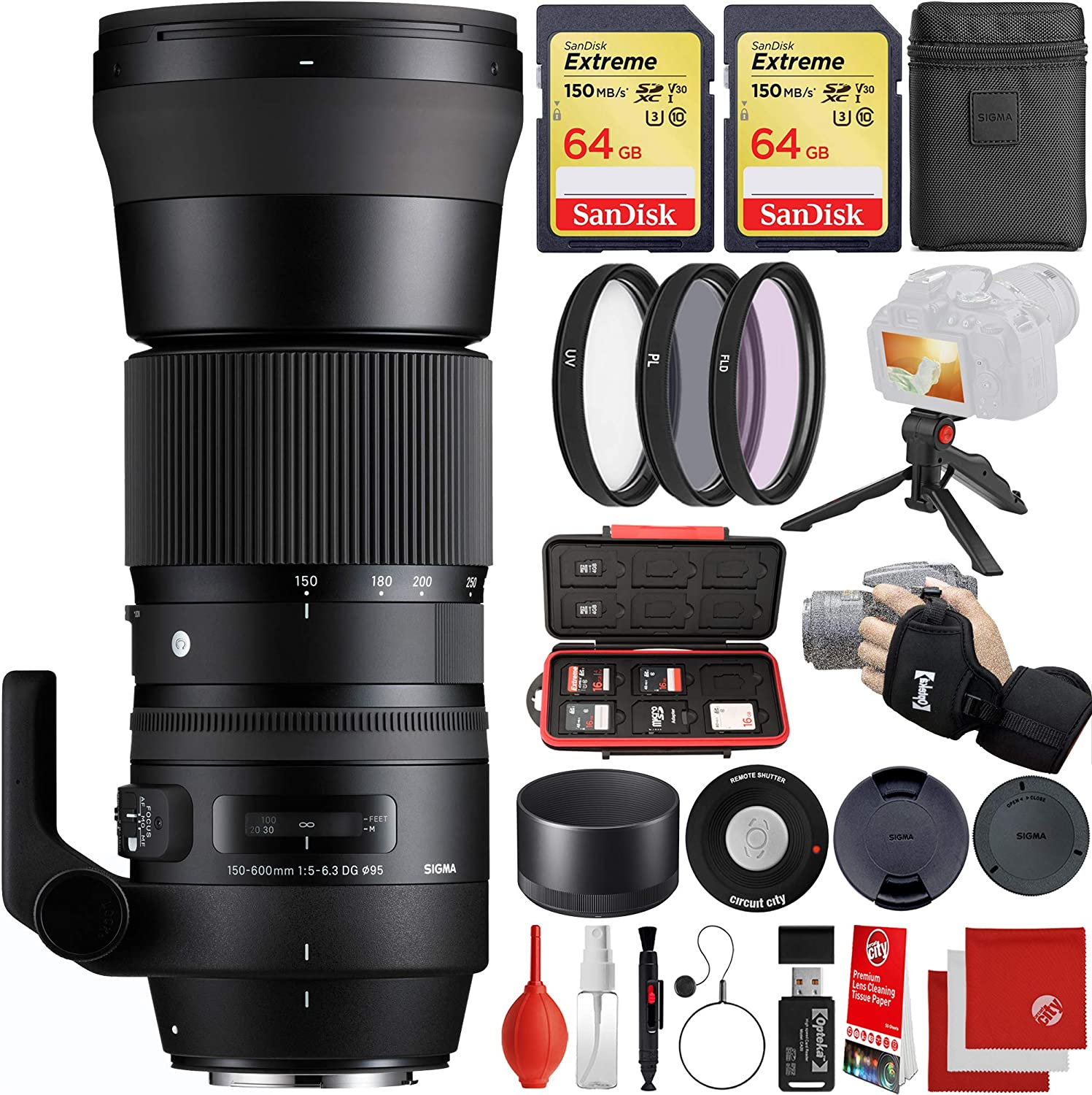 Sigma 150-600mm f/5-6.3 Contemporary DG OS HSM Nikon F-Mount Bundle with 2X 64GB Memory Cards, IR Remote, 3 Piece Filter Kit, Wrist Strap, Card Reader, Memory Card Case, Tabletop Tripod