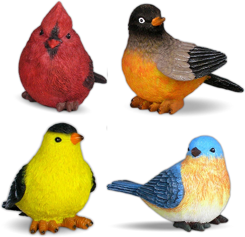 BANBERRY DESIGNS Song Bird Garden Statues - Set of 4 Assorted Bird Figurines Cardinal, Bluebird, Goldfinch and Robin -