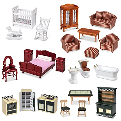 "Melissa & Doug Classic Victorian Wooden and Upholstered Dollhouse Furniture, 1:12 Scale, 23 Pieces, 20"" H x 14"" W x 12"" L (E-Commerce Packaging), Multi, (Model: 31713): Toys & Games"