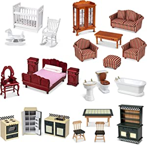 "Melissa & Doug Classic Victorian Wooden and Upholstered Dollhouse Furniture, 1:12 Scale, 23 Pieces, 20"" H x 14"" W x 12"" L(E-Commerce Packaging), Multi, (Model: 31713)"