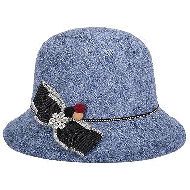 Women/'s cashmere cloche hat with flower blue.