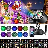 Luces de Proyector Navidad, ALED LIGHT Impermeable Exterior Decoración Luz de Proyector con Control Remoto y 20…