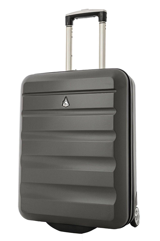Aerolite 55x40x20 Ryanair Höchstbetrag 2 Rollen 40L Leichtgewicht ABS Hartschale Handgepäck Trolley Koffer Bordgepäck Kabinentrolley Reisekoffer Gepäck, Auch Genehmigt für easyJet Lufthansa, Kohlegrau
