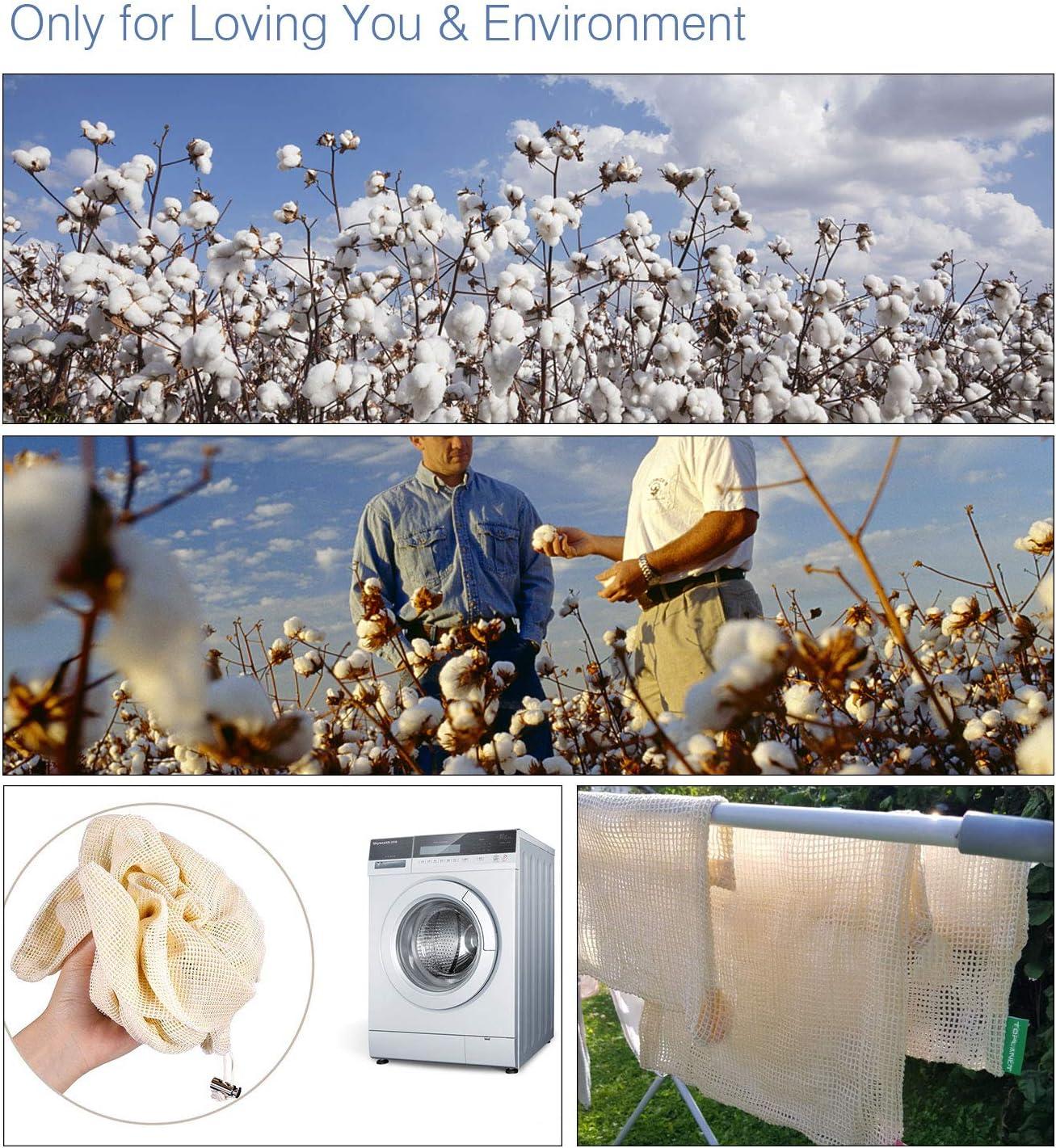 TOPLANET Sac Reutilisable 8 PCS 100/% Coton Produire des Sacs L/égume avec Cordon de Serrage Double Cousu L//M//S Taille Durable Lavable Mesh Bags pour Shopping et Stockage