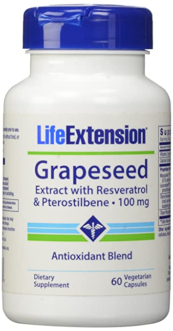 Life Extension Grapeseed Extract w/ Resveratrol and Pterostilbene 100 MG, 60 Vcaps