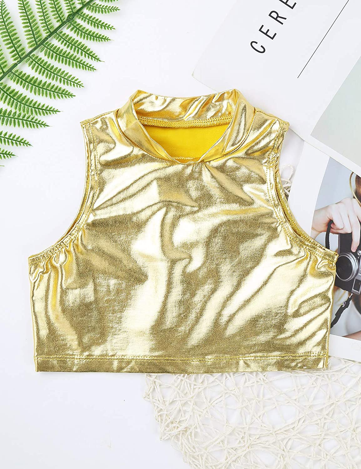 Agoky Little//Big Girls Shiny Metallic Camisole Tank Tops Sports Dance Tee Shirts for Gymnastic Dance Competition Party