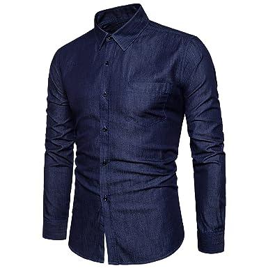 7f5df5956d2 VANCOOG Men s Long Sleeve Denim Work Shirts Pocket Casual Button Dress  Shirts at Amazon Men s Clothing store