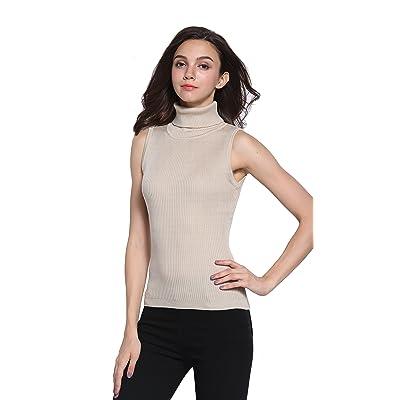 Sofishie Sleeveless Ribbed Turtle Neck Sweater Tunic at Women's Clothing store
