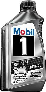 Mobil 1 98JA11 10W-40 Racing 4T Motorcycle Oil for Sport Bikes - 1 Quart (Pack of 6)
