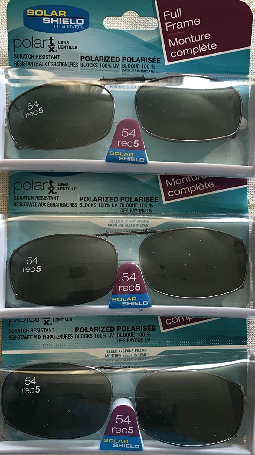0c8f260a93d Amazon.com  3 SOLAR SHIELD Clip-on Polarized Sunglasses Size 54 rec 5 Black  Full Frame NEW  Sports   Outdoors