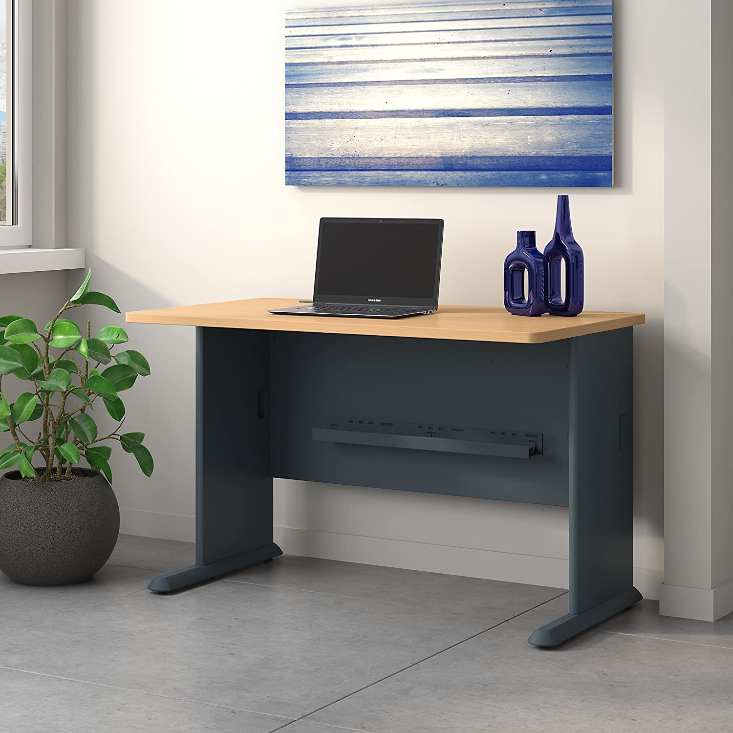 Bush Business Furniture Series A 48W Desk in Beech and Slate