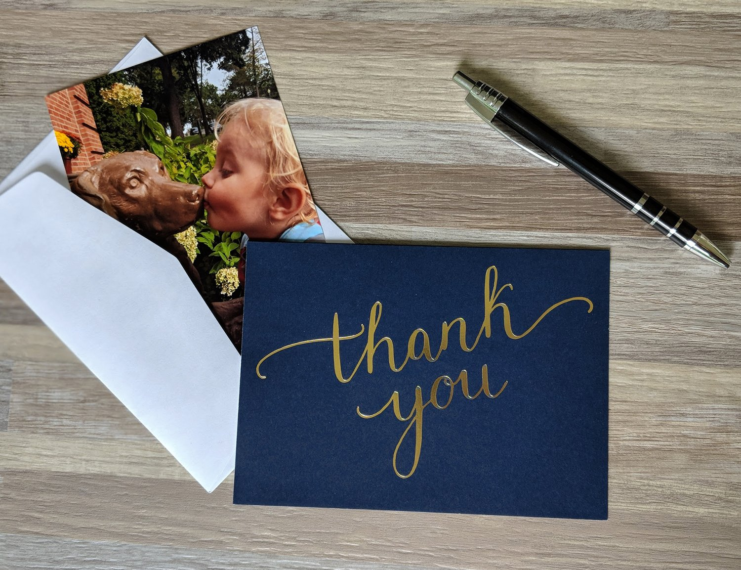 100 Thank You Cards Bulk - Thank You Notes, Navy Blue & Gold - Blank Note Cards with Envelopes - Perfect for Business, Wedding, Gift Cards, Graduation, Baby Shower, Funeral - 4x6 Photo Size by Spark Ink (Image #2)