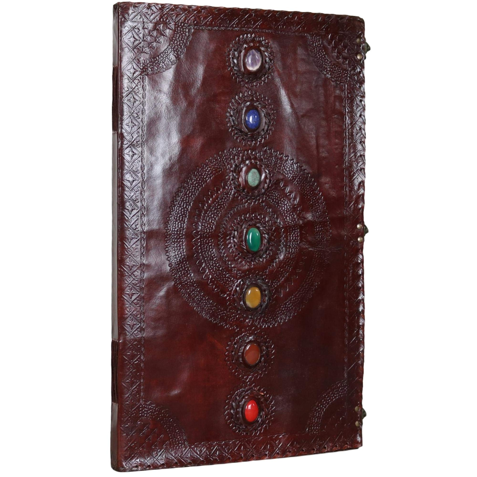 Seven Stone Leather Journal Handmade Notebook Unlined Blank 240 Pages 13 1/2 X 22 inches