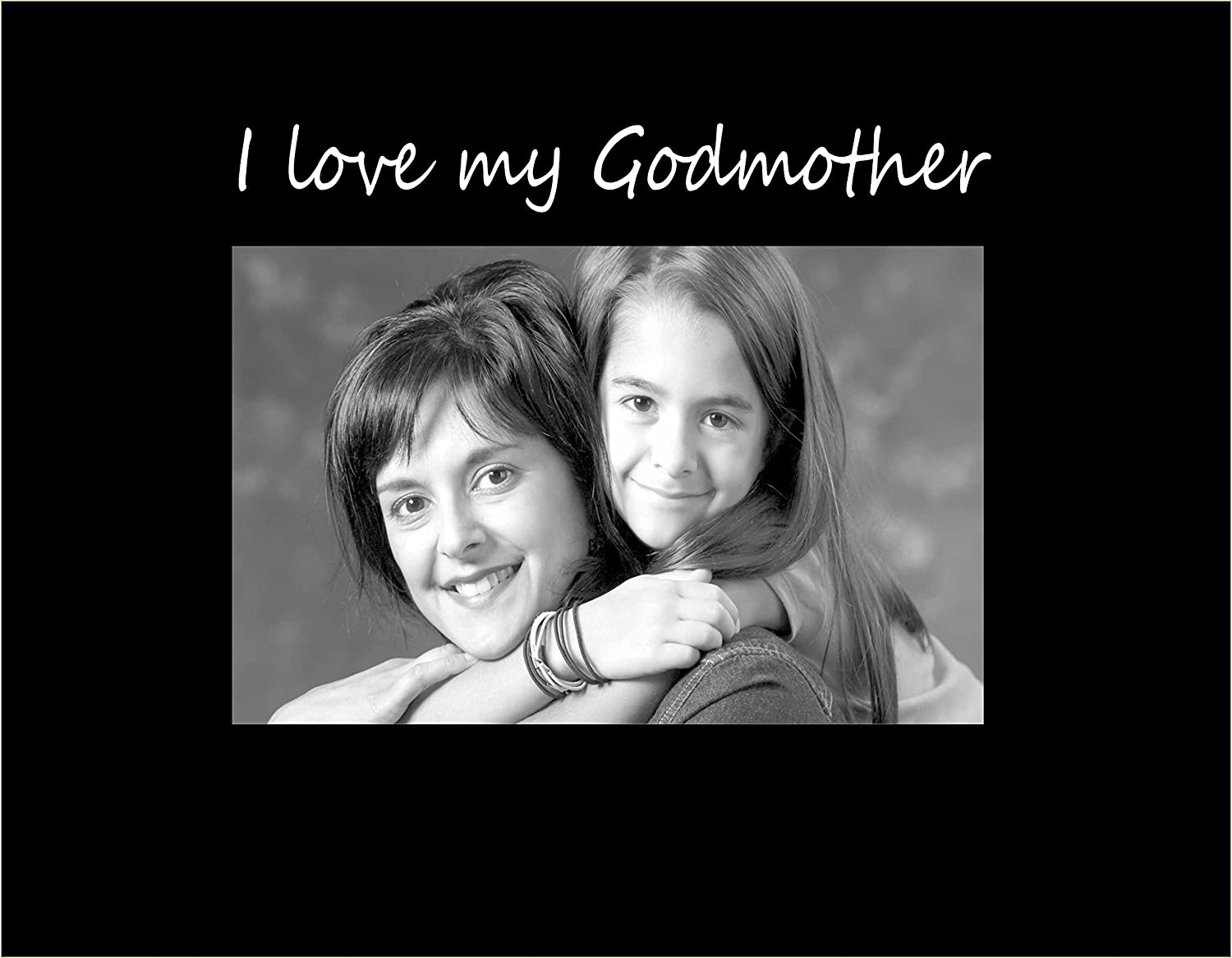 Small Engraved Photo Frame Infusion Gifts I Love My Godmother Black C9442SB