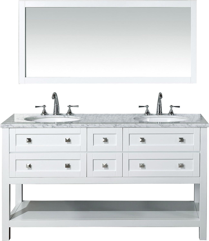 Stufurhome Marla 60 Inch Double Sink Bathroom Vanity With Mirror In White Amazon Com
