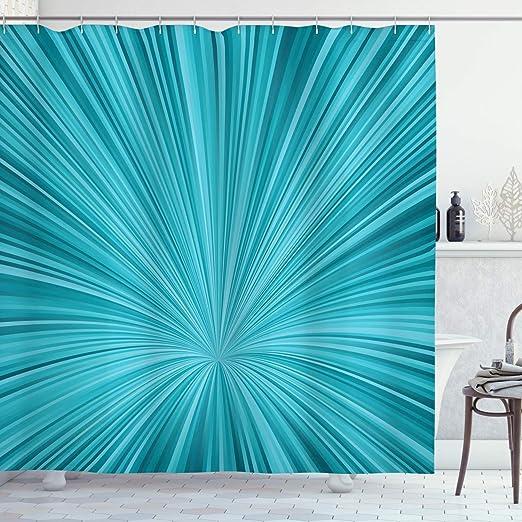 Teal Shower Curtain Abstract Vortex Design Print for Bathroom