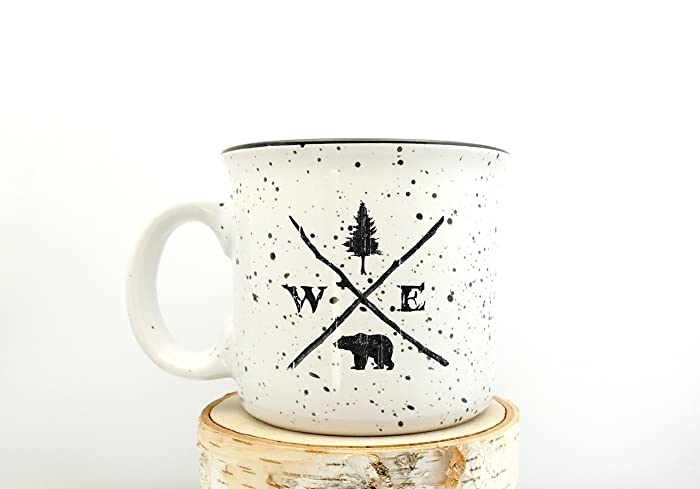 campfire mug forest compass speckled color mug screen printed coffee mug