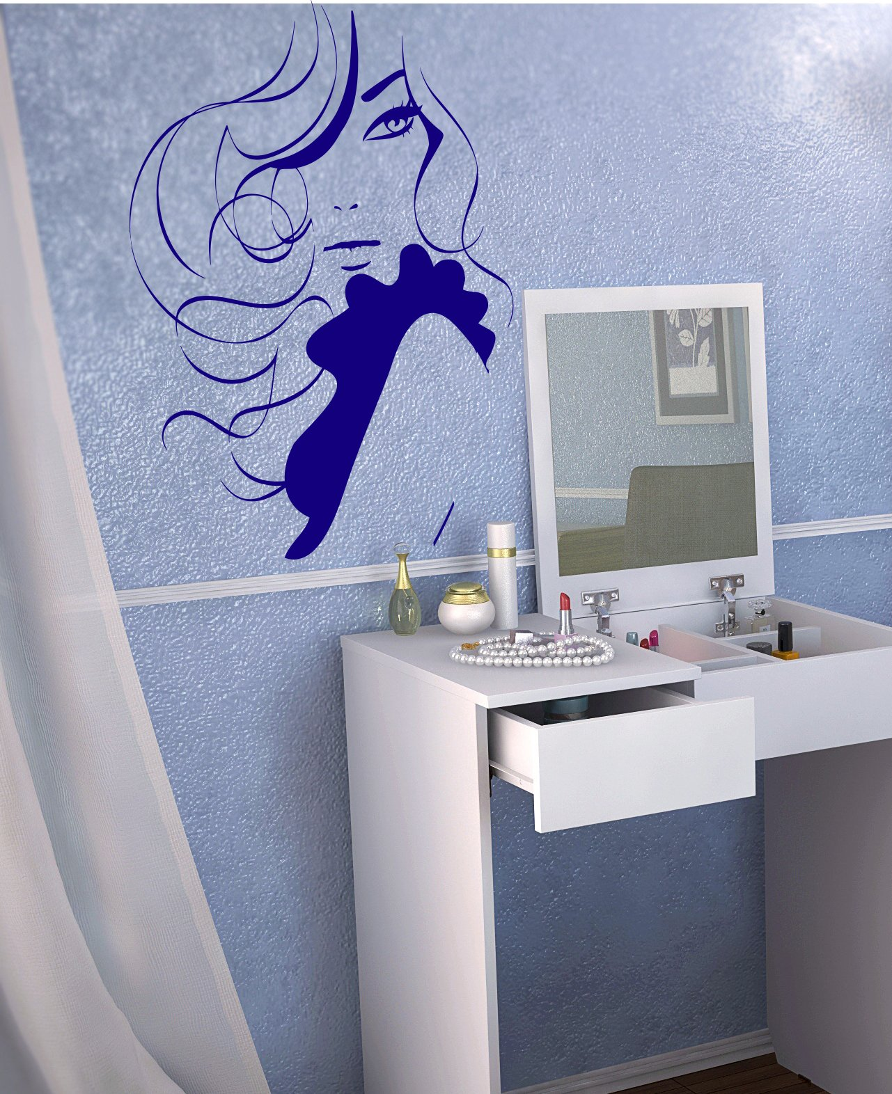 Beauty Saloon Beautiful Woman Hairdryer Flowers Butterfly Spa Kids Room Children Stylish Wall Art Sticker Decal G9535