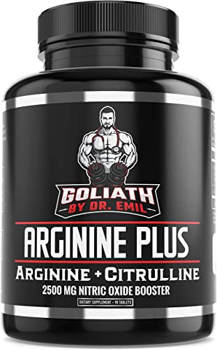 Dr. Emil s ARGININE Plus – L Arginine L Citrulline – 2500 MG High Dose NO Booster Tablets – Nitric Oxide Supplement for Muscle, Pump and Heart Health Arginine AAKG and Citrulline Malate 2 1