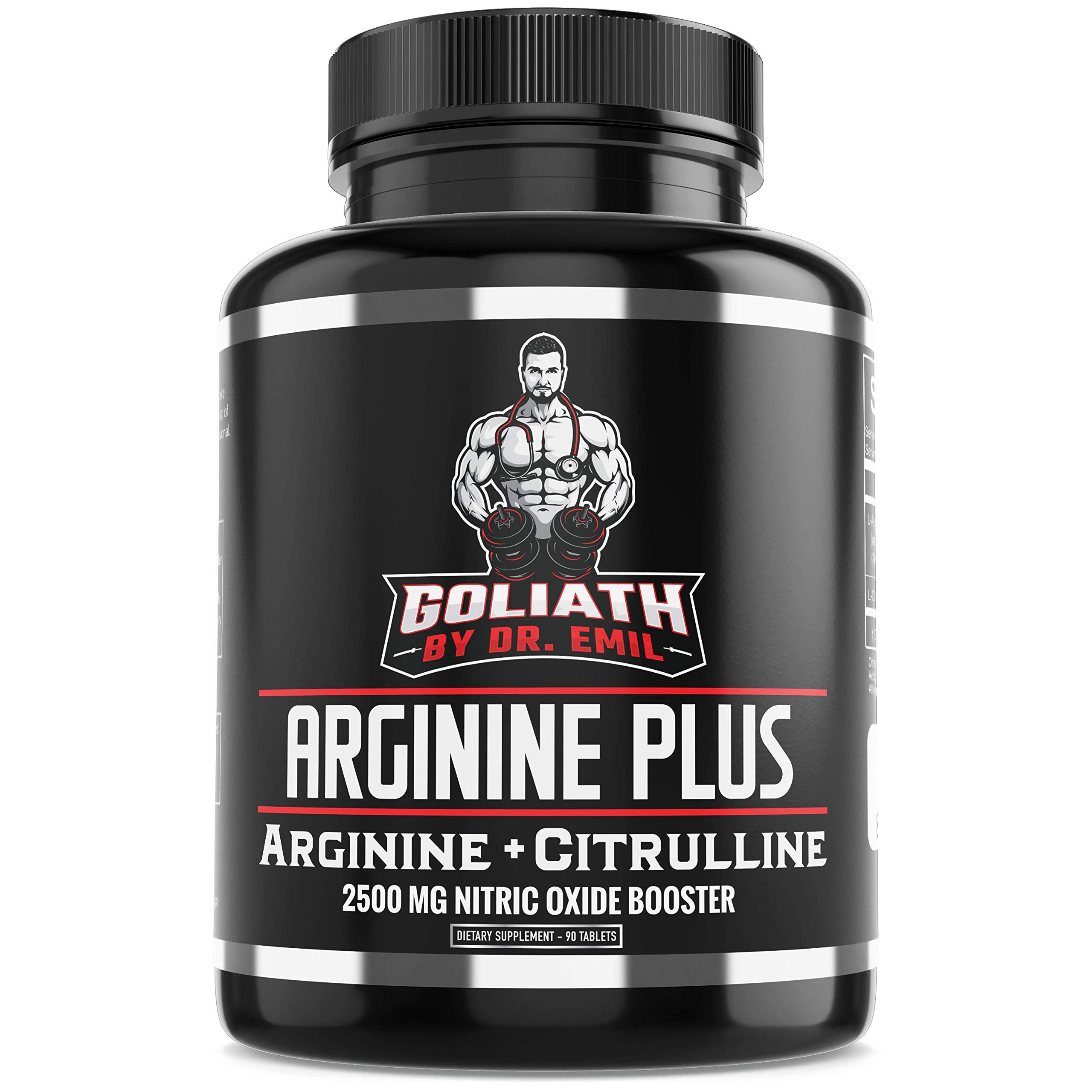 Dr. Emil's ARGININE Plus - L Arginine + L Citrulline - 2500 MG High Dose NO Booster Tablets - Nitric Oxide Supplement for Muscle, Pump and Heart Health (Arginine AAKG and Citrulline Malate 2:1) by DR EMIL NUTRITION
