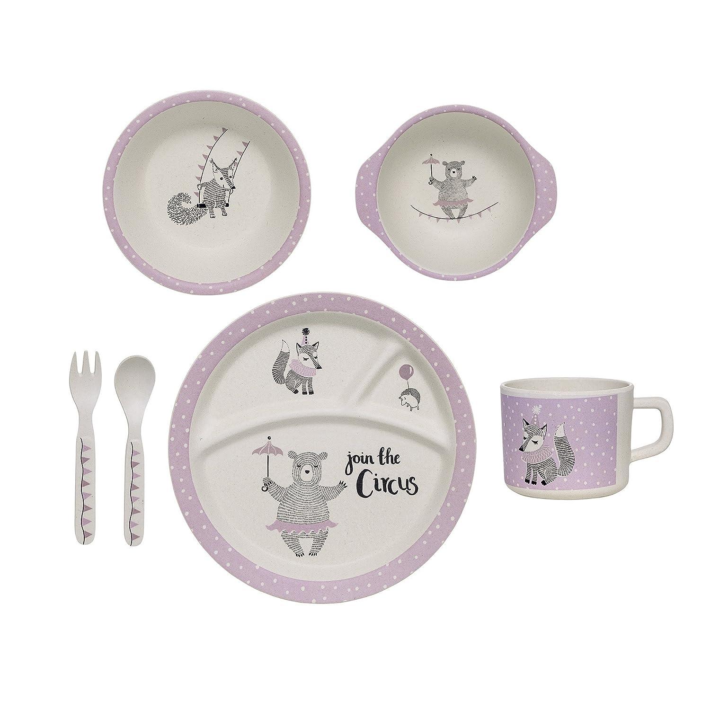 Set de vaisselle enfant Circus, Bloomingville, Blanc cassé / Violet, Lot de 6 Blanc cassé/ Violet