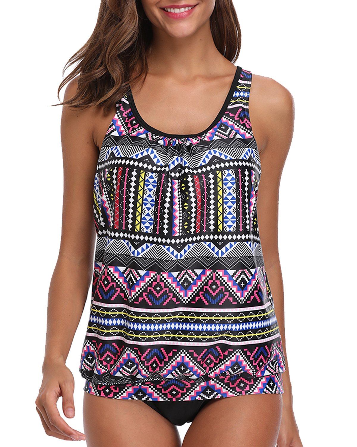 Yonique Women Two Pieces Tribal Printed Flyaway Tankini Sets with Triangle Brief Swimsuit