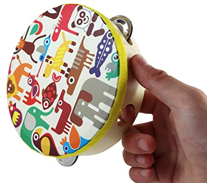 Amazon.com: Zoo Animals Tambourine Toy - Small Head Tambourine Drum for Children with 8 Metal Timpanis - 6.3 inch: Musical Instruments