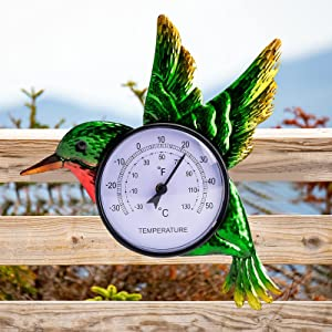 VEWOSTAR Thermometer Indoor Outdoor Hummingbird Decor Wall Mounted Thermometer for Patio