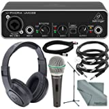 """Behringer U-PHORIA UMC22 2in2out USB Audio Interface and Accessory Bundle w/ Samson Mic & Stand + Headphones + 3X 1/4"""" TRS Cable + Fibertique Cloth"""
