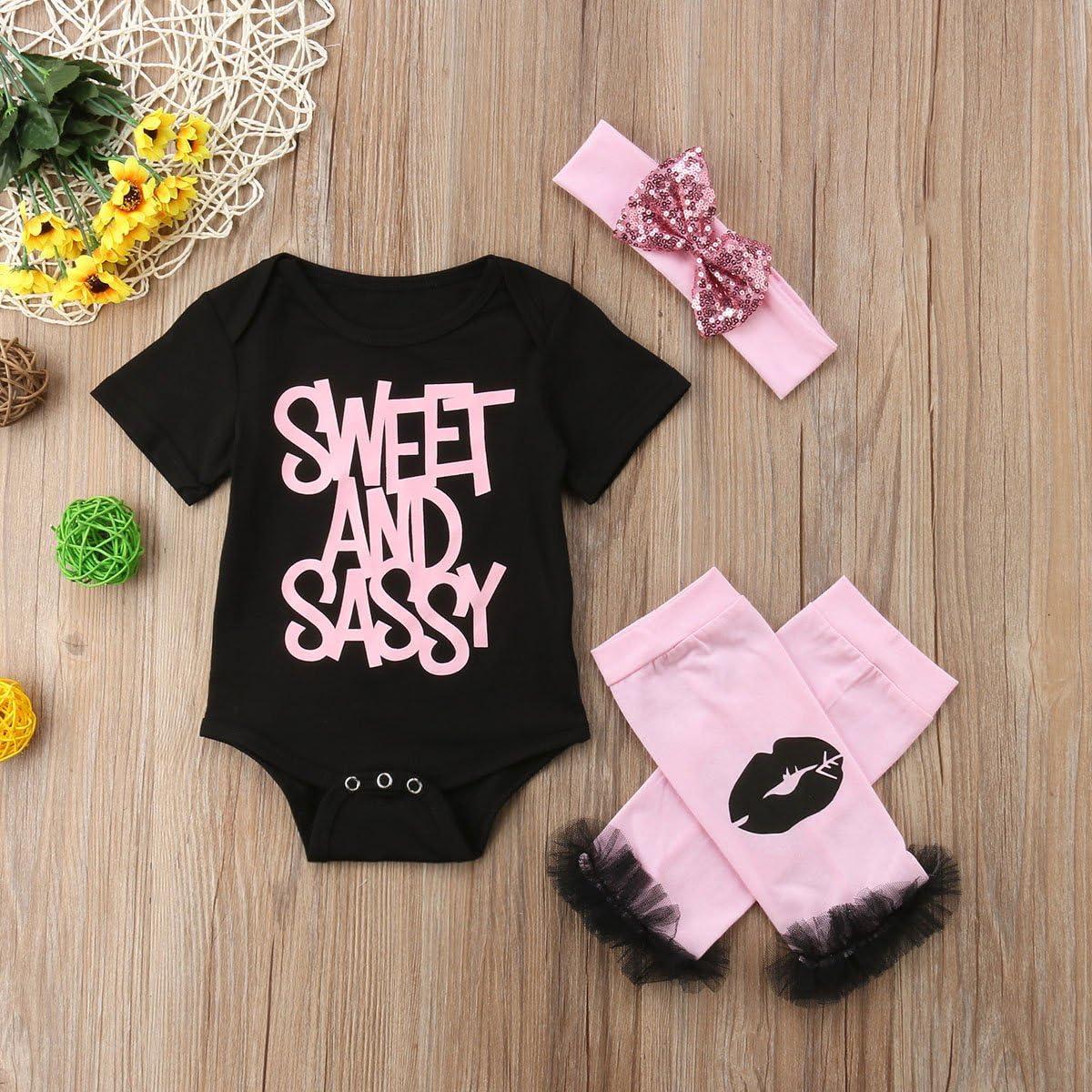 Baby Girls Sweet and Sassy Letter Romper Headband 3pcs Outfit Set Lip Legging