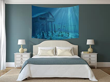 Amazon IPrint Polyester Tapestry Wall HangingOcean Decor Simple Atlantis Bedroom Furniture Decor