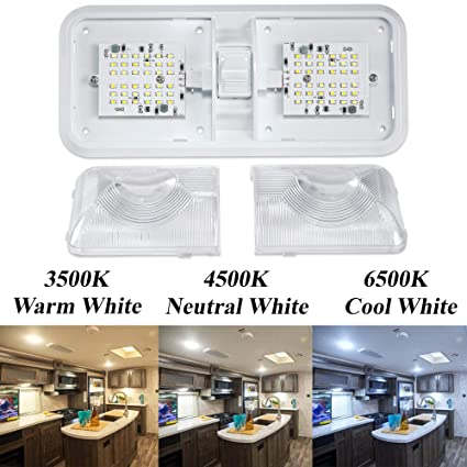 White BlueFire 1 Pack RV Interior Light Super Bright DC 12V Led RV Ceiling Double Dome Light Trailer Camper RV Interior Lighting with ON//Off Switch for Trailer Camper Car RV Boat