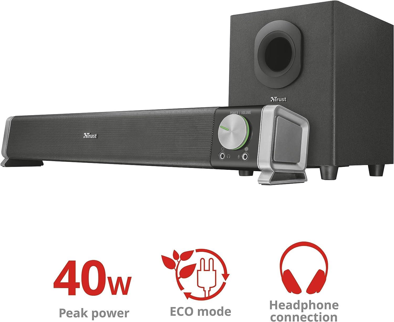 Trust 22262 Asto 2.1 Soundbar PC Speaker with Subwoofer for Computer and Laptop 40 W Black UK Plug