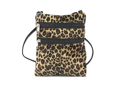 7ac818b5f64a Loni Womens Funky Small Flat Shoulder Bag/Cross-Body Bag Animal Print Faux  Fur Bag in Leopard: Handbags: Amazon.com
