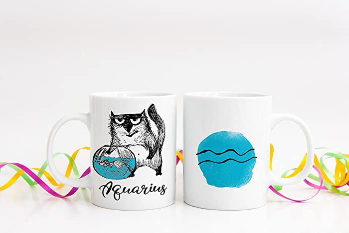 Zodiac Gift Coffee Mug Aquarius Birthday Cat Lover