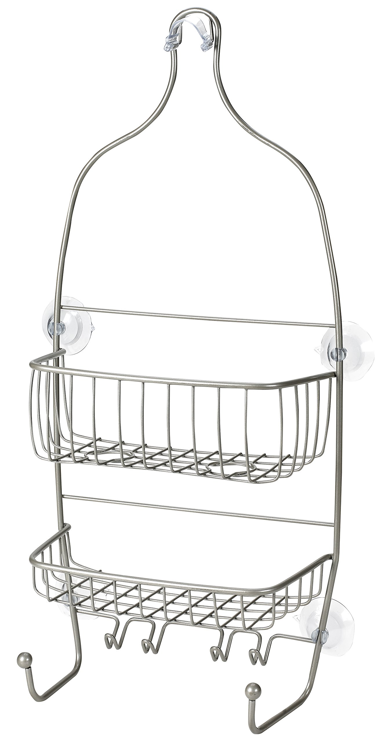 Hanging Shower Caddy - Stainless Steel and Rust Free Ensuring a Great Appearance. Large Shelves and Hooks Make it an Efficient Bathroom Shower Storage Organizer. Easily Hang with Suction Cups.