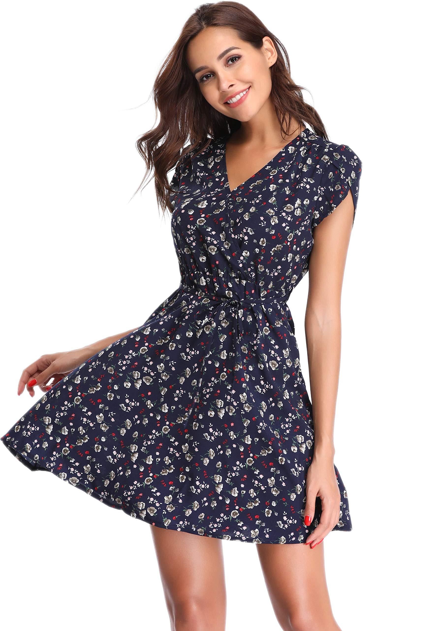Argstar Women's Short Floral Dress Boho Short Sleeves V Neck Casual Mini Dress