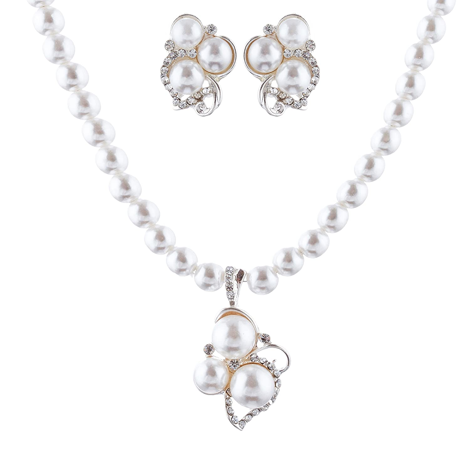 8ecc5c37d ACCESSORIESFOREVER Bridal Wedding Prom Jewelry Set Crystal Rhinestone Pearl  Cluster Stud Necklace Silver