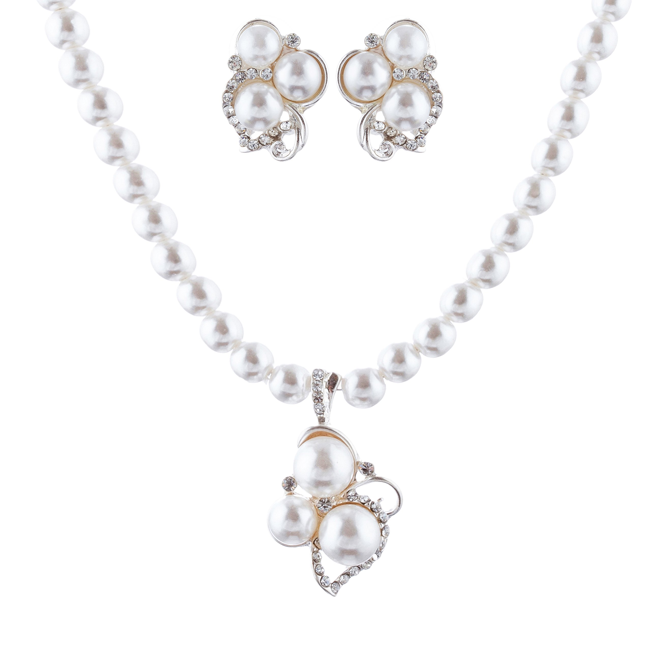 ACCESSORIESFOREVER Bridal Wedding Prom Jewelry Set Crystal Rhinestone Pearl Cluster Stud Necklace Silver