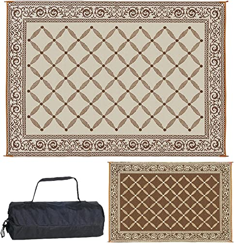 Reversible Mats 119127 Outdoor Patio 9-Feet x 12-Feet, Brown Beige RV Camping Mat
