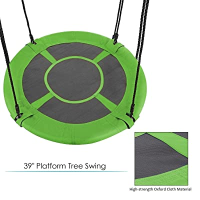 """Leoneva 40"""" 440lb Outdoor Tree Swing Large Hammock Chair with Adjustable Nylon Rope Saucer Round Platform Swing for Kids and Adult (US Stock) (Green): Toys & Games"""