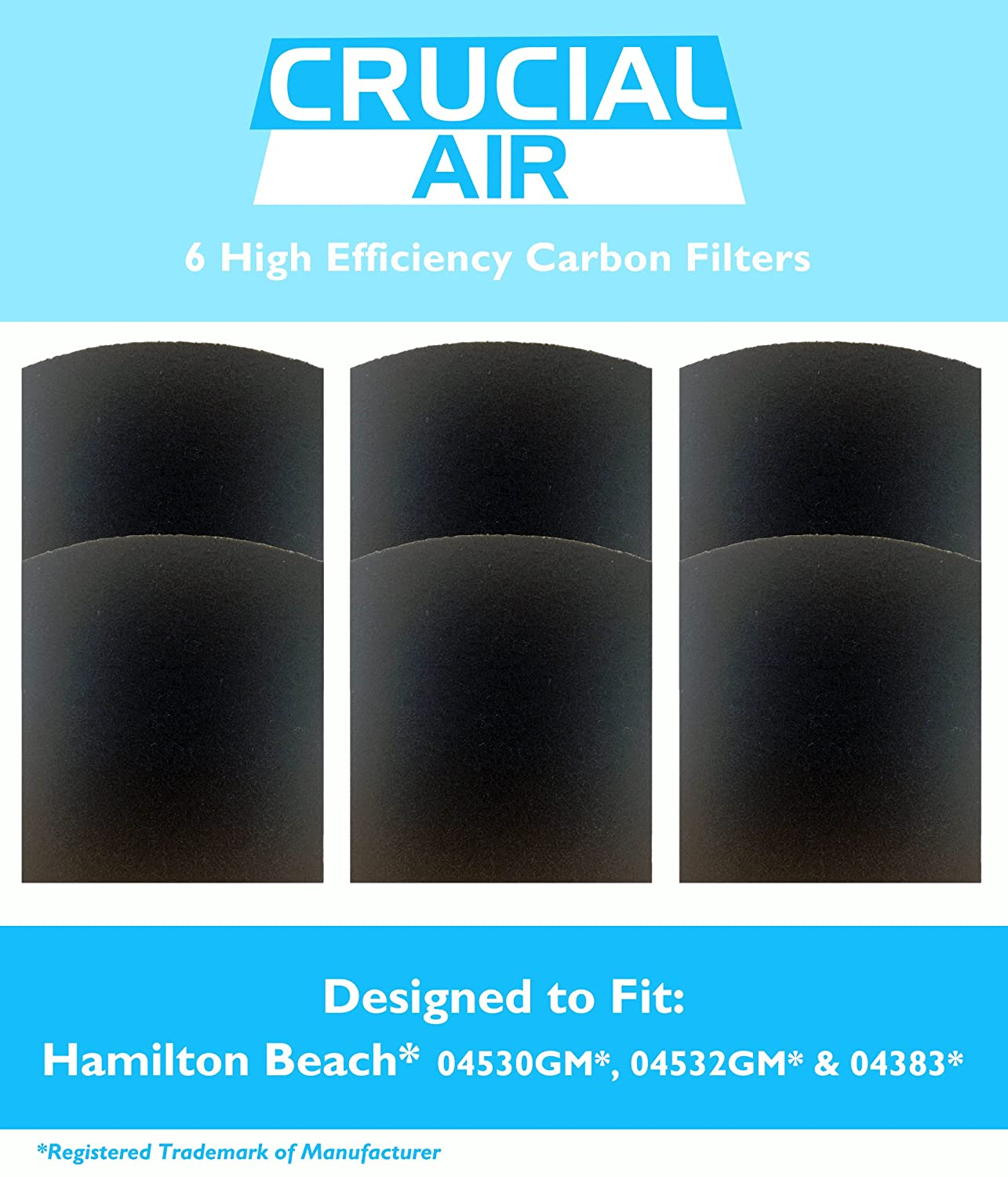 6 Crucial Air Replacement Carbon Filters Fit Hamilton Beach True Air  04530GM 04532GM 04383 04531GM 04530F 04294 By Crucial Air: Amazon.co.uk:  Kitchen & Home