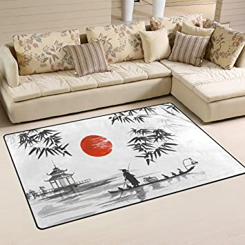 JSTEL INGBAGS Super Soft Modern Japanese Painting Man With Boat Area Stunning Living Room Carpets Rugs Painting