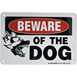 "Beware of The Dog Warning Sign - 7"" X 10"" - .040 Rust Free Heavy Duty Aluminum - Made in USA - Indoor and Outdoor Use - A81-276AL"