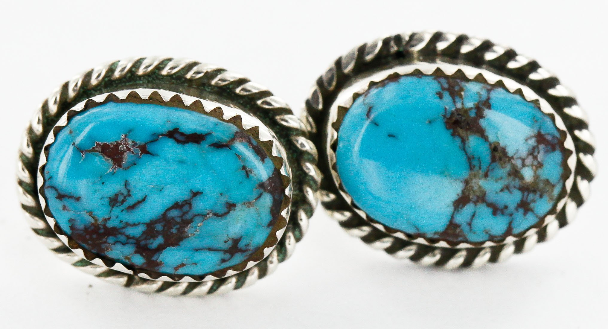$100 Retail Tag Authentic Handmade Made by Robert Little Navajo Silver Hooks Stud Native American Earrings Natural Turquoise
