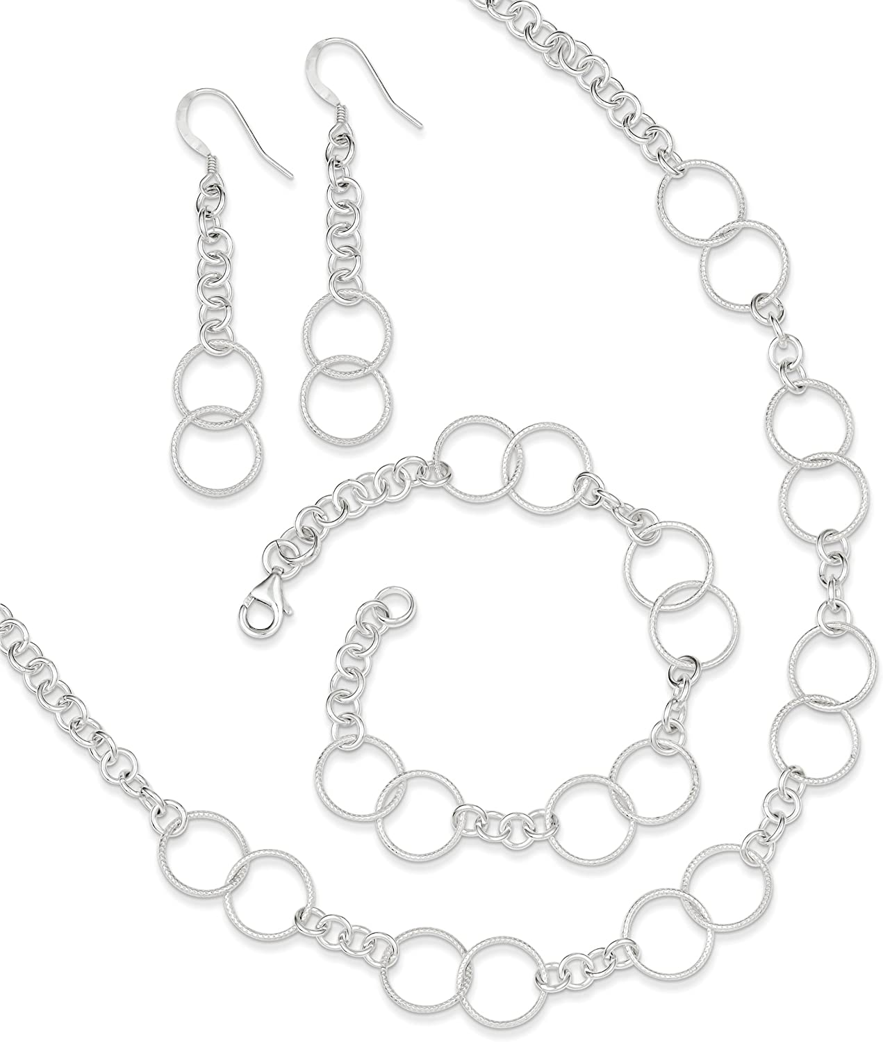 West Coast Jewelry Sterling Silver Necklace Bracelet and Earrings Set
