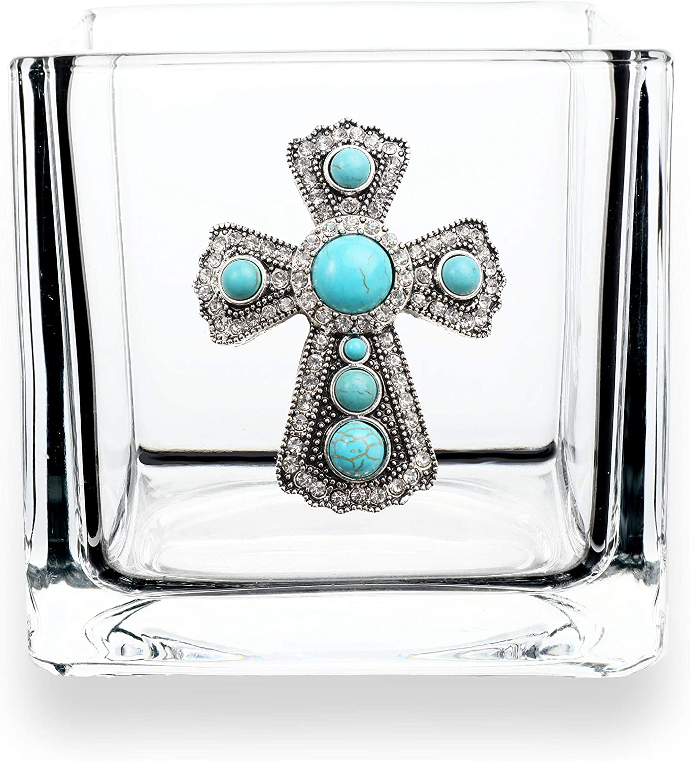 THE QUEENS' JEWELS Turquoise Cross Jeweled 4x4 Candleholder Vase - Unique Gift for Women, Birthday, Cute, Fun, Not Painted, Decorated, Bling, Bedazzled, Rhinestone
