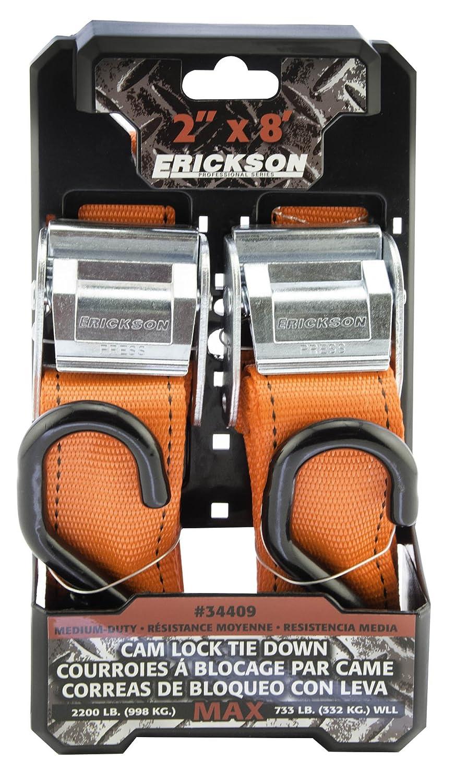 Pack of 2 Erickson 34409 Pro Series Orange 2 x 8 Cam Lock Buckle Tie-Down Strap,