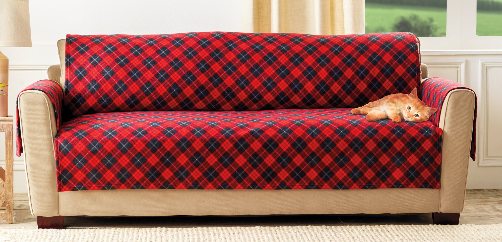The Paragon Furniture Cover - Sofa or Couch Furniture Protector, Soft Plaid Fleece Fabric, Sofa Cover Shield Protects Fabric from Stains and Every Day Wear